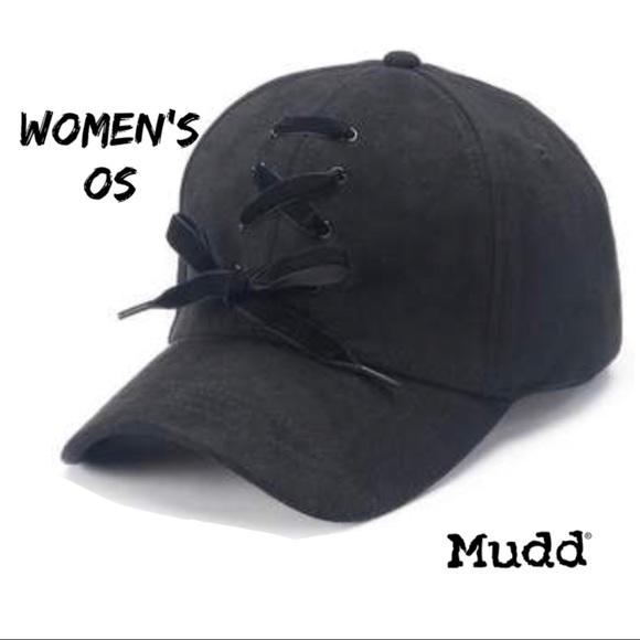 dcf319927e19f Mudd Shoelace Baseball Cap Black NWT U13